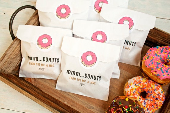 Wedding Favor Bag Labels : Wedding FavorDonut Bag and StickerWax Lined Favor Bag20 White ...