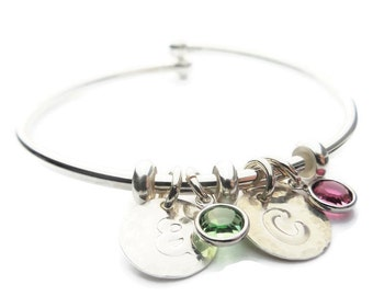 Personalized Mom|Initial and Birthstone Cuff Bracelet | Sterling|Silver|Jewelry | Child Birthstone Initial Bracelet Personalized Custom Made