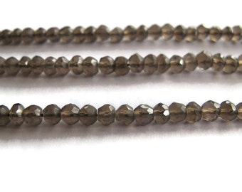 Natural Smoky Quartz Beads, Small Rondelle Gemstones, 6.5 Inch Strand, 4mm Necklace Rondelles, Jewelry Supplies (R-Sq6)
