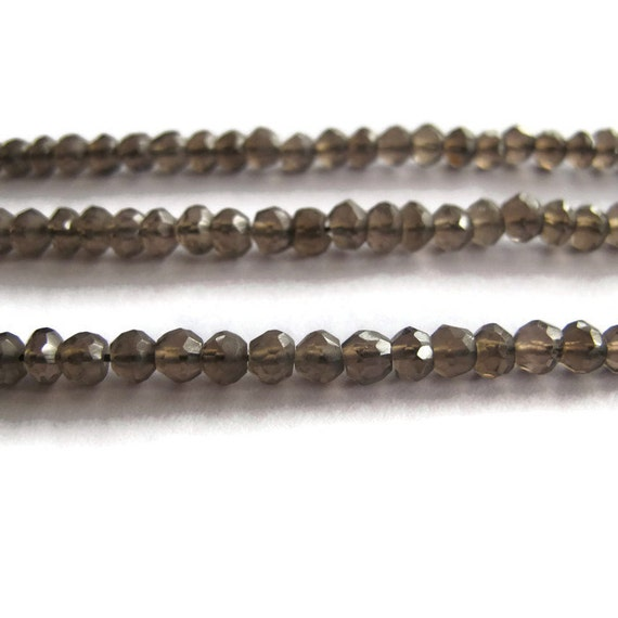 Natural Smoky Quartz Beads, Small Rondelle Gemstones, 13 Inch Strand, 4mm Necklace Rondelles, Jewelry Supplies (R-Sq6)