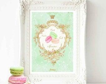 Cake print, macaron, watercolor illustration, French art print, kitchen print, vintage, bakery print, A4 giclee