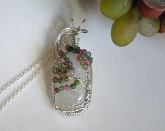 Moonstone and Tourmaline Tree of Life Sterling Silver Wire Wrapped Pendant Necklace