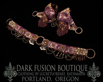 Professional BRA & BELT Bellydance Set, Purple, Brass, Gold, Cabaret, Fusion, Vintage, Noir, Nouveau, Ritual, Tribal, Costume, Dark Boutique