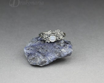 Twig ring - blue lace agate in silver, sculpted flowers and twigs, limited collection