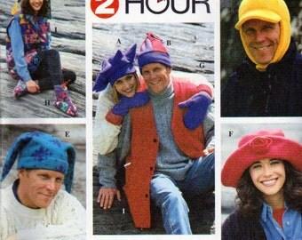 WINTER HAT Sewing Pattern - Jester Big Brim Ear Flap Star Hats Mittens Vest OOP 7356