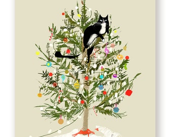 Funny Christmas Card - Christmas Tree Cat - Cat Christmas Card