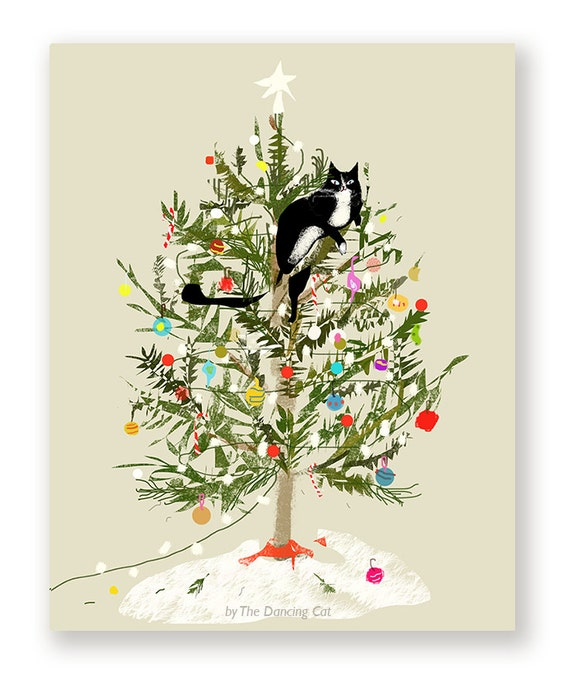 Are Christmas Trees Bad For Cats: Funny Christmas Card Christmas Tree Cat Cat Christmas Card
