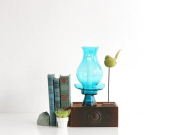 Mid Century Modern Morgantown Glass Hurricane Lamp / Morgantown Peacock Blue Glass Candle Holder / Mid Century Modern Glass Candle Holder