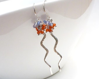 Blue sapphire and orange carnelian earrings, sterling silver, zig zag hammered and textured gemstone clusters, blue orange earrings