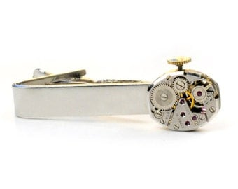 Steampunk Vintage Elgin Watch MovementTie Bar Alligator Clip