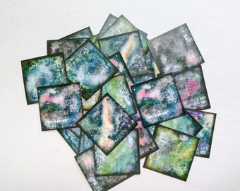 """Galaxy Stickers, 1.5"""" or 2"""" squares, star stickers, nebula stickers, planner stickers journal stickers, recycled stickers, blue purple black"""