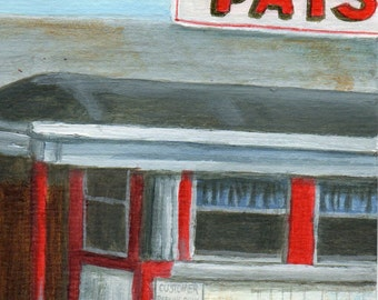 Original Acrylic Painting of a Diner, Small Painting Retro Roadside Art by Debbie Shirley