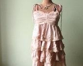 Pale Pink Tattered Ruffle Dress, Mori Girl Clothing, Fairy Faerie Pixie Style, Upcycled Repurposed Clothing, Empire Waist, Shabby Chic Boho