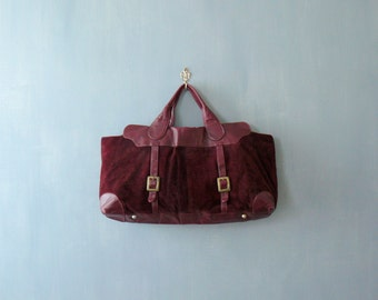 Vintage 1970s bag. Burgundy Italian leather handbag. 70s oversized bag