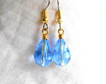Teardrop Blue Crystal Earrings