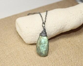 Labradorite Necklace, Labradorite Jewelry, Oxidized Sterling Silver, Green Blue Flash, Gemstone Pendant