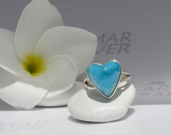 Larimarandsilver ring size 6, Shades of Love 2 - peacock blue Larimar heart, AAA Larimar, turtleback, Atlantis stone, handmade larimar ring