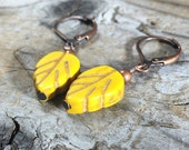 Yellow leaf howlite stone antique copper lever back earrings - simple short gemstone rustic bohemian jewelry nature