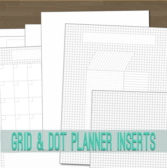 Grid And Dot Grid Planner Inserts With Blank Grids And By