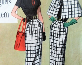 Vintage Simplicity 8110 Sewing Pattern, 1940s Dress Pattern, Slim Skirt Dress, Capelet Pattern, Bust 34, 40s Sewing, Simplicity Designer's