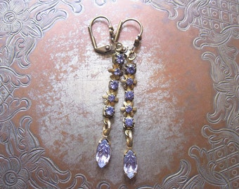 Sparkly Lavender Rhinestone Earrings / Floral Vintage Assemblage Earrings