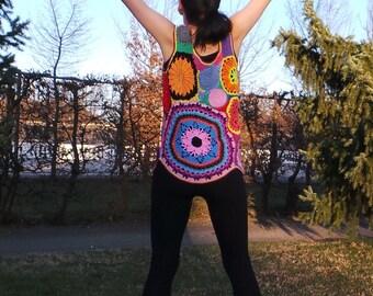 Crochet multicolor freeform fantasy top - ethno flower power gypsy -hippie boho  retro style - READY to SHIP - size M-L