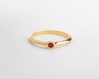 Small Ring, Simple Ring for Women, Ruby Engagement Ring, 18k 14k Yellow Gold Ring, Dainty Ring, Minimal Ring, July Birthstone