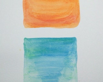 Original water color painting, 9x12, orange and blue