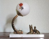 RESERVED FOR M - Shipping Charge Only for French Art Deco German Shepherd Dog & PUPPY Table Lamp Light on Marble 1940s - Dog Lamp