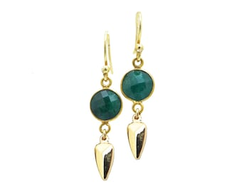 Emerald Earrings Gold - Emerald Drop Earrings - Dangle Earrings Gold - May Birthstone Jewelry - Precious Stones - Gift for Her