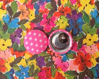 Fabric Covered Button Earrings / Neon Pink / Wholesale Jewelry / Made in USA / Small Stud Earrings / Bridesmaid Gifts / Polka Dot Earrings