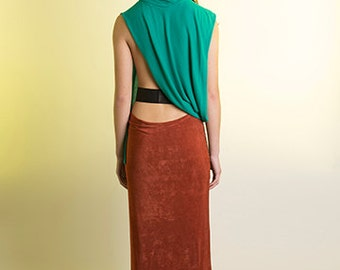 Burnt Sienna Draped Midi Knit Skirt, with Gold Silk Tweed Panel and Black Waxed Cotton Waistband