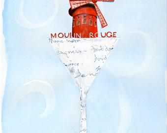 Travel art print, Paris art, Martini print, Moulin Rouge, French martini, France art, martini art, destination art, travel art