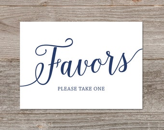 Wedding Favor Sign Printable Navy Decor Instant Download Signs