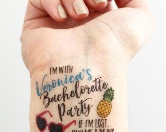 Custom Bachelorette Party Temporary Tattoos - Sunnies + Pineapple