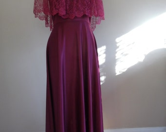 Vintage Late 1970s - Early 1980s, Retro Victorian Lace Trimmed Burgundy Evening Gown from JC Penney, Size 13/14