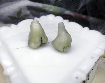 Polymer Clay Beads - 2 Rustic Flower Pod Beads - Murky Seafoam - Translucent Green - Unusual Stylized Botanical Pair - Pond Bells