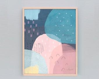 "Modern Minimalist Art, Pink Navy Wall Art, Pink Abstract Art, Mountain Art, Pink Navy Art, Fun Art, Kids Decor Wall Prints, 8x10"", A4"