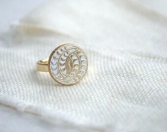 White Gold boho hippie ring from metal button