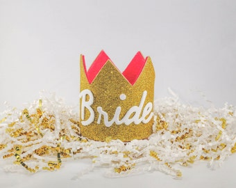 Bride Crown, Bachelorette Crown, Glitter Crown, Bridal Crown, Queen Crown, Gold Crown (Gold Glitter w/ Hot Pink Inner)