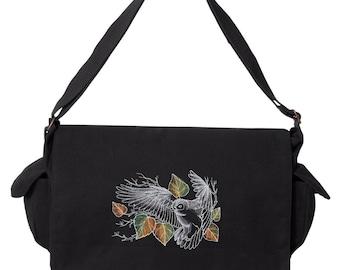 Nocturnus - Owl Embroidered Canvas Cotton Messenger Bag