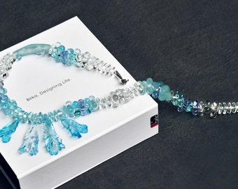 The Rustle of the Waves - Glass Necklace - Silver Necklace - Lampwork Necklace - Murano Necklace - Ocean Necklace - Sea Necklace