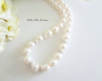 Swarovski Pearl and Crystal Necklace Pearl Wedding Jewelry Graduated Pearl Bridal Necklace Bride Jewelry Pearl Necklace Formal STERLING