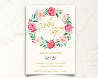 1st Birthday Invitation | Girl | Floral | Printable Download