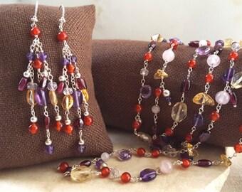 Gemstone Jewelry Set, 2 Piece 43 in Necklace, 2 inch Dangle Chandelier Earrings Sterling Elegant Fine Jewelry Amethyst, Citrine, Rose Quartz