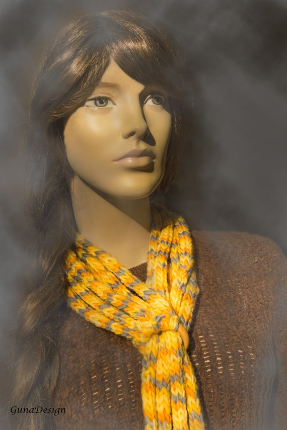 Crochet Scarf Necklace with Leather Tassels