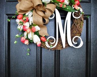 White & Coral Tulip Wreath. Grapevine Wreath. Year Round Wreath. Spring Wreath. Summer Wreath. Monogram Wreath. Door Wreath.
