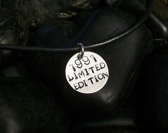 "TEEN BOY GRADUATION Gift, Stamped ""Limited Edition"", Boyfriend Gift, Teen Necklace, For Your Son or Grandson on Leather, Personalized Date"