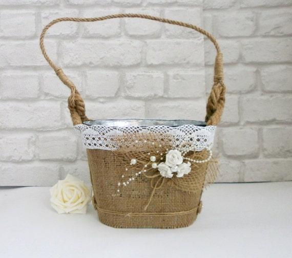Rustic Flower girl Basket Burlap