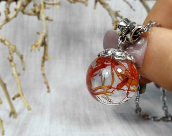 Orange asters petals resin sphere pendant, Botanical jewelry , Botanic resin necklace, Resin pendat, Nature lovers pendant, flower necklace